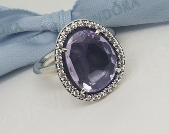 dd1d080db Authentic Genuine Pandora Sterling Silver Amethyst & CZ Cocktail Ring -  Size 50 - 190893AM