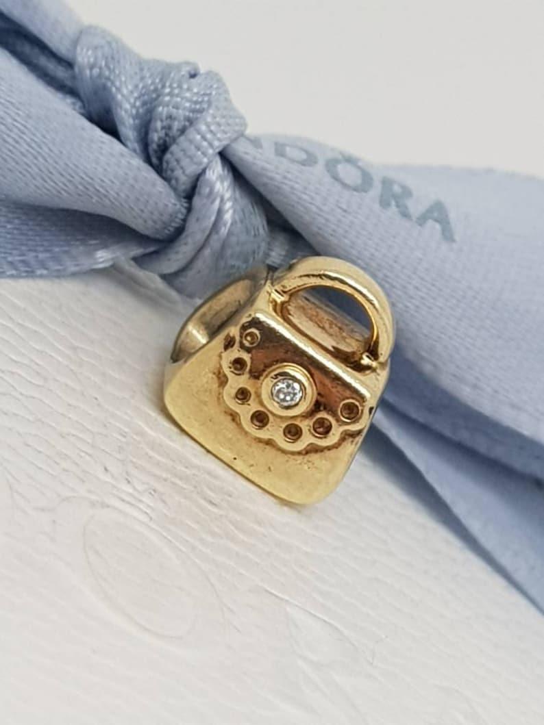 aa5bf7674 Authentic Retired Pandora 14k 14ct Gold Diamond Handbag / | Etsy