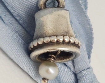 Authentic Pandora Pearl Wedding Bell Dangle Charm 790517 - Retired