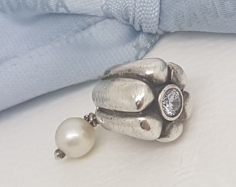 Authentic Pandora Dangle Pearl Drop Charm with Lilac Crystal 790208LCZ
