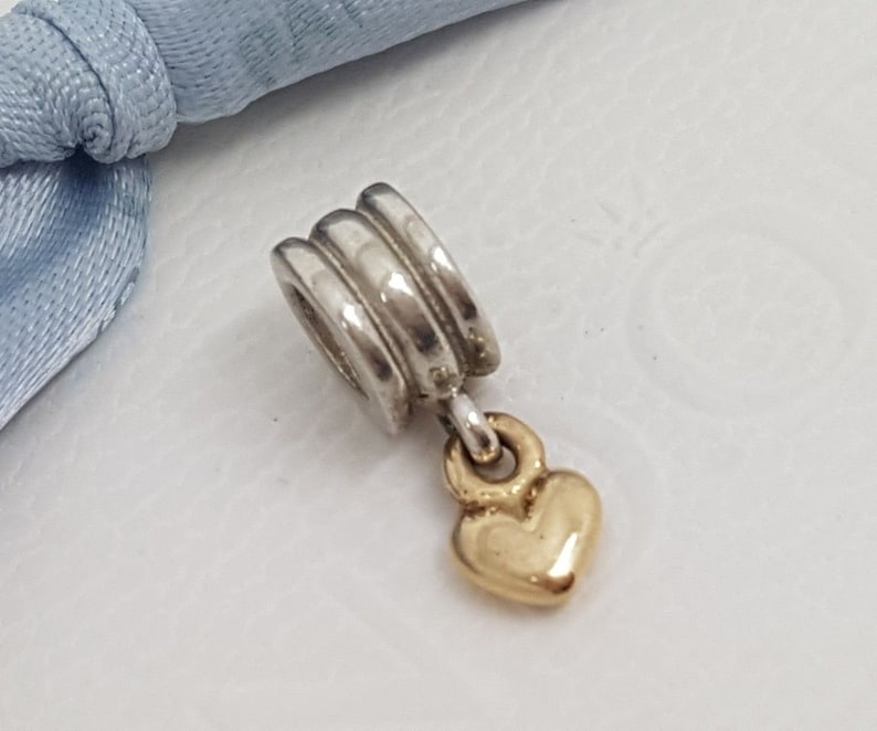 a1baf2c66 Authentic Pandora Retired Sterling Silver & 14ct Gold Dangle   Etsy