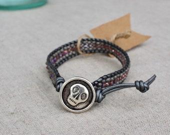 Silver Skull Single Wrap Bracelet