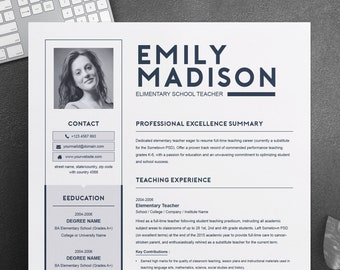 TEACHER Resume Template for MS Word | 1 and 2 Page Resume, Cover Letter, Reference Letter | Teacher CV Design Instant Download