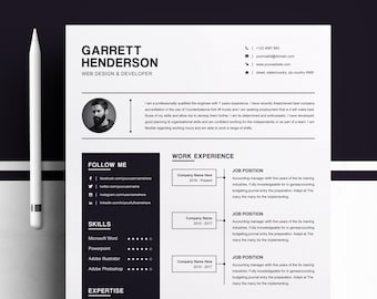 one page resume two page cv design template cover letter cv ms word