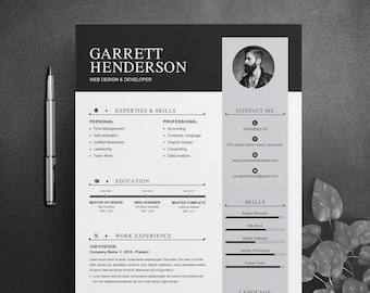 Resume Template 2 Pages Professional Clean Modern Creative Etsy