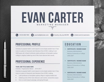 Simple Clean Resume Design Word Template | Two Page Modern,  Professional, Creative, Resume Template | CV Resume + Cover Letter Template