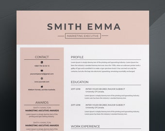 Modern & Professional Resume Template / CV Template + Cover Letter for Word, Pages, Psd and Eps | US Letter and A4 Size