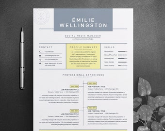 one page resume template with cover letter ms word format etsy