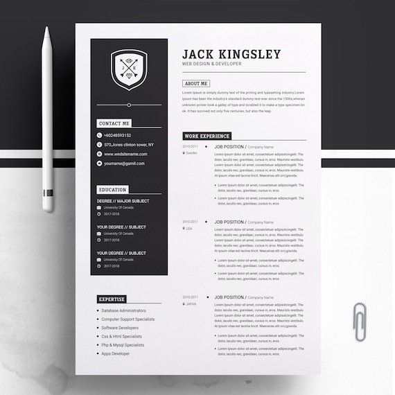 Minimalist Resume Cv Design Template Ms Word Apple Pages