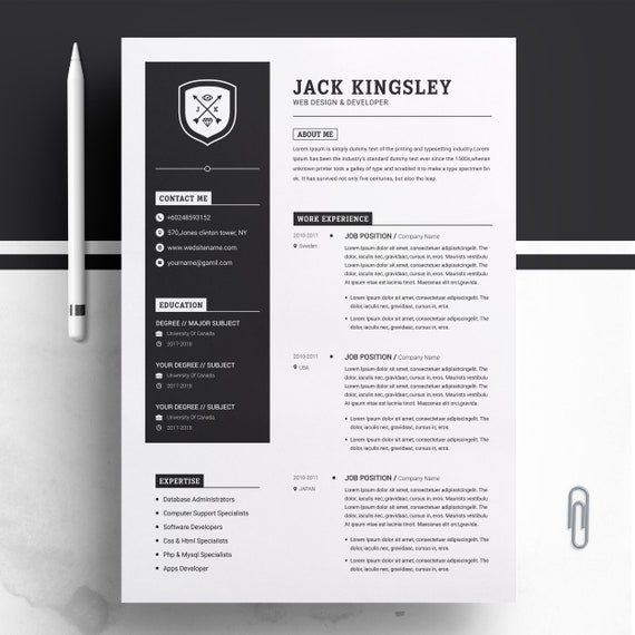 Minimalist Resume / CV Design Template MS Word Apple Pages