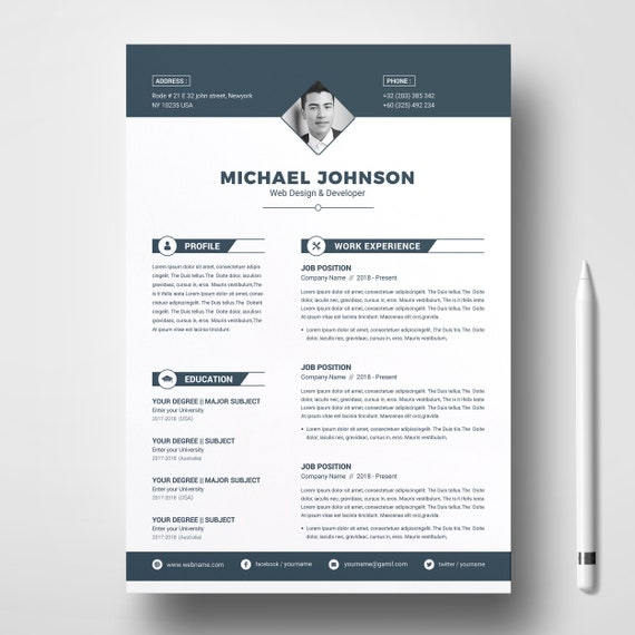 Professional Resume Cv Design Template 2 Pages Ms Word Etsy