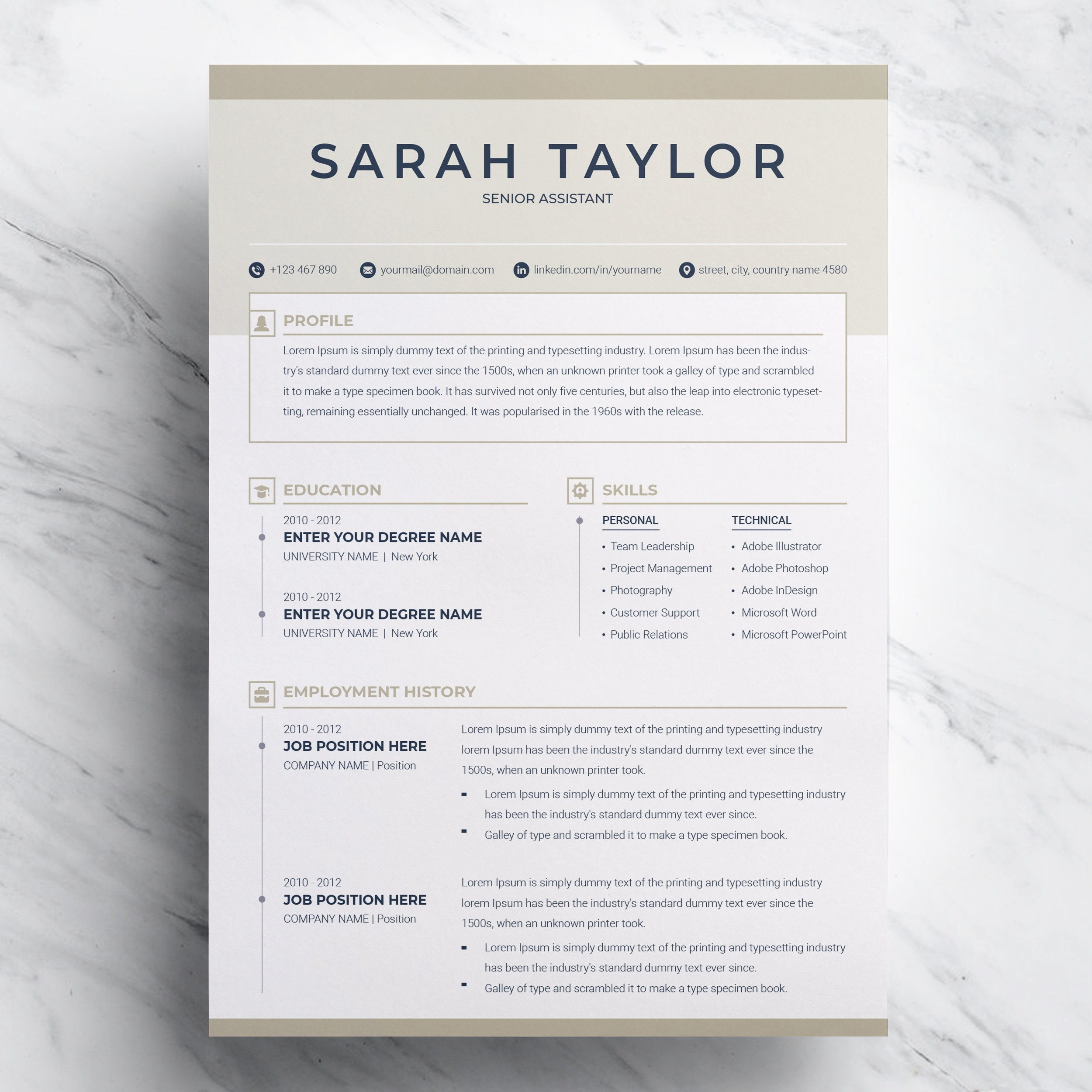 Resume Template 3 page Professional Modern & Clean Creative