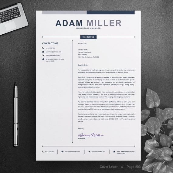 Clean Resume / CV Design Template | 2 Page Editable | Black and White A4 MS  Word Curriculum Vitae | Apple Pages | Cover Letter