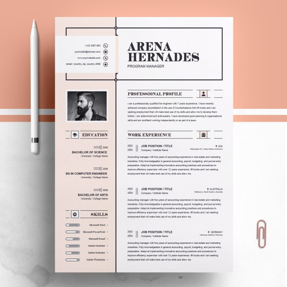 Modern And Creative Professional Resume Cv Design Ms Word Template Printable Apple Pages A4 Photo Resume Elegant Instant Download
