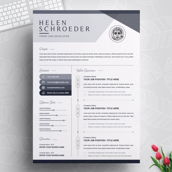 Resume Template Professional Cv Design Template With Cover Letter Ms Word Apple Pages Instant Download