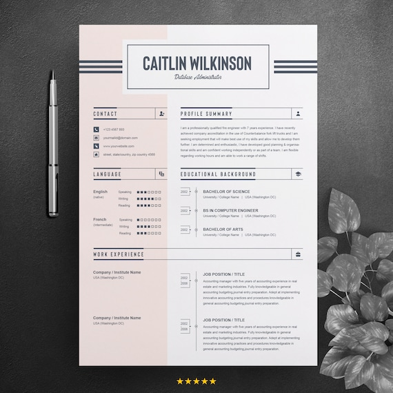 Job Resume Cv Word Design Template Ms Word Editable And Printable Resume Design