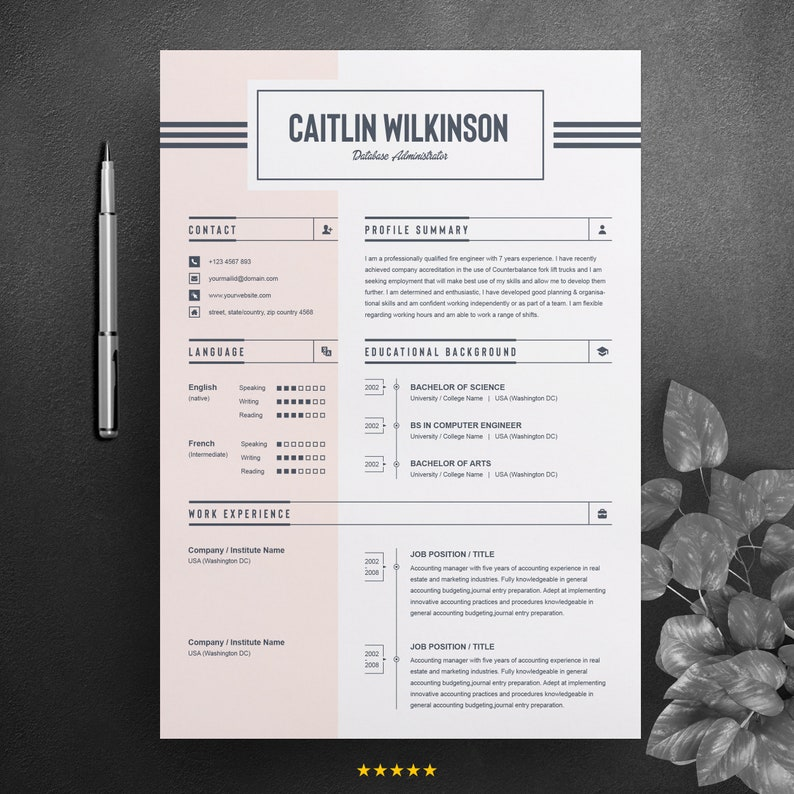 job resume    cv word design template ms word editable and