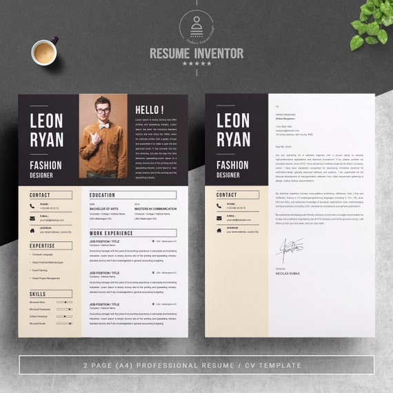 Bold Resume Template For Fashion Designer Instant Download Etsy