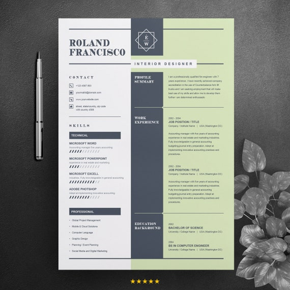 Two Page Resume Cv Design Template Cover Letter Ms Word Apple Pages Psd File Formats Instant Download Digital File