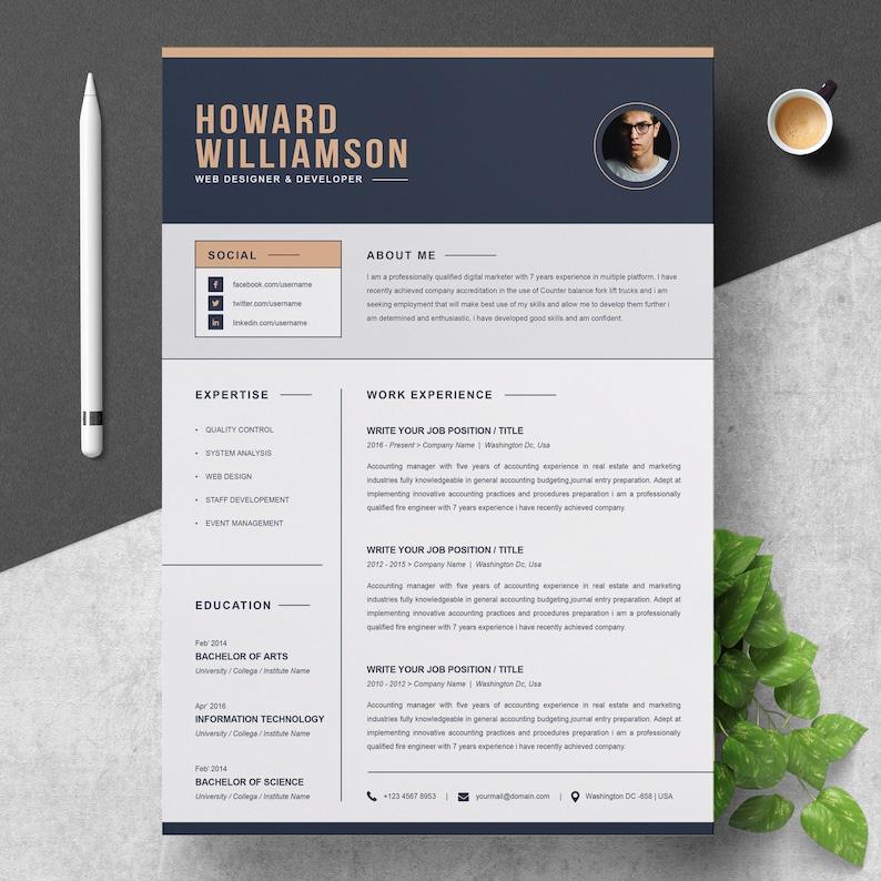 Resume Template CV Cover Letter | Etsy