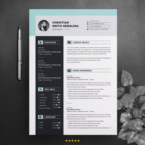 Professional Resume Template Ms Word Cv Design 2 Pages Best Curriculum Vitae With Cover Letter Apple Pages Instant Download
