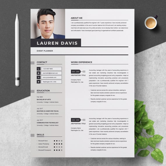 Professional Resume Template for Word | Apple Pages CV Resume + Cover  Letter | 2 Pages Curriculum Vitae | Instant Download Resume