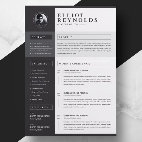 Professional Word Resume Cv Cover Letter Template Etsy