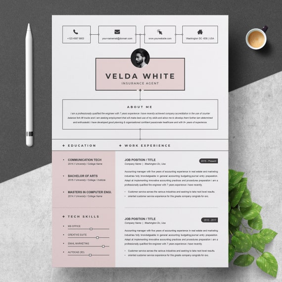 Resume Template Creative Resume Template For Word And Apple Pages Cv Resume Cover Letter Reference Page 2 Pages Pack