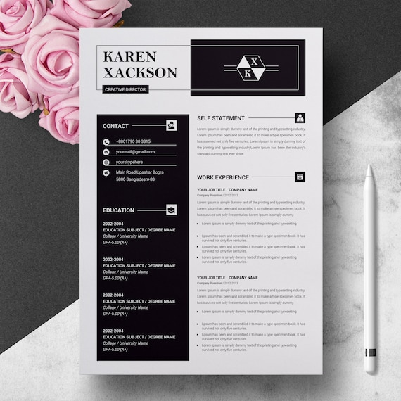 Minimalist Creative Resume Template   Modern & Professional Resume Template  for Word   CV Resume Cover Letter   3 Pages Pack