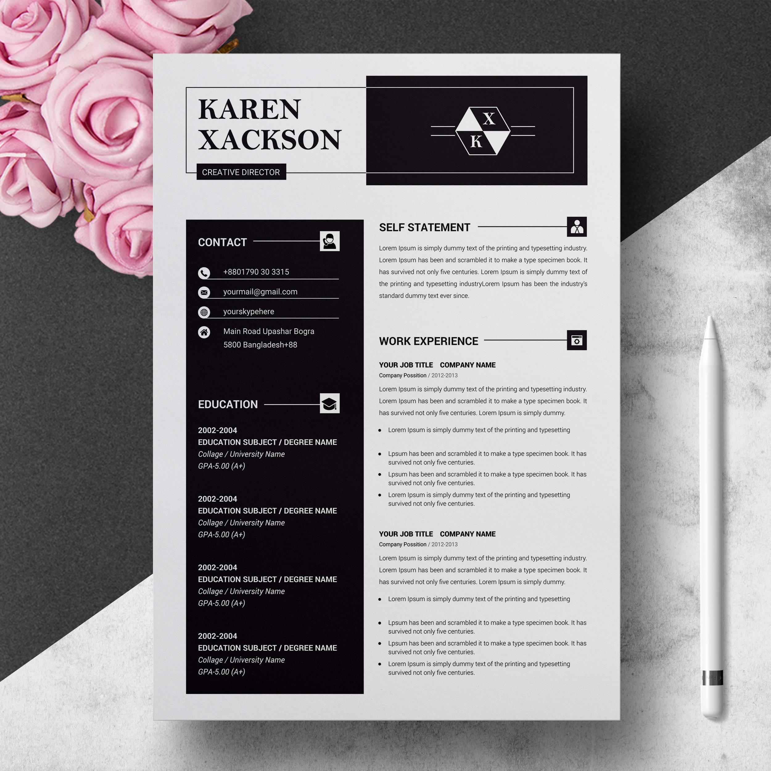 Minimalist Creative Resume Template Modern & Professional   Etsy