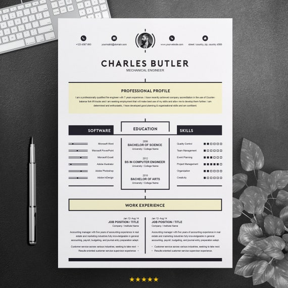 Creative & Modern Resume for Job | 2 Pages Printable Clean CV Design MS  Word Template with Cover Letter | Apple Pages | Instant Download
