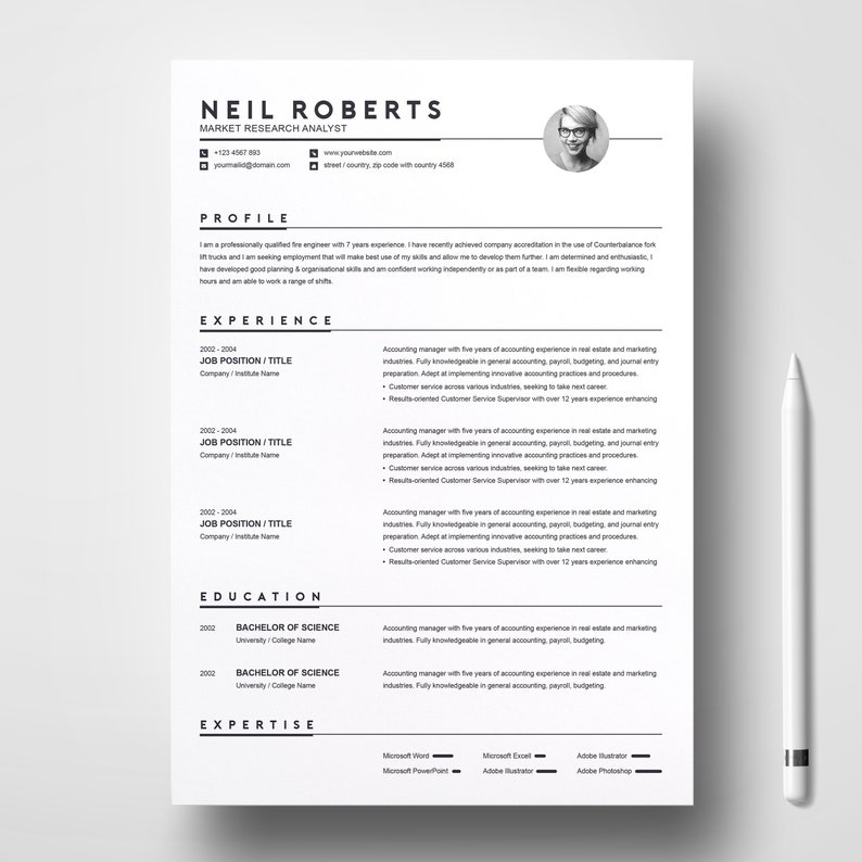 Clean Resume Design Template Word CV Cover Letter