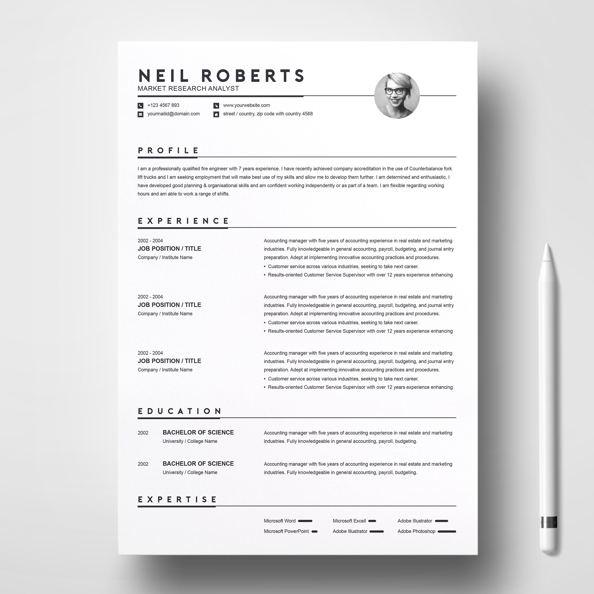 Clean Resume Design Template | Word Resume / CV & Cover Letter | Simple  Curriculum Vitae with Cover Letter | Apple Pages | PSD | EPS