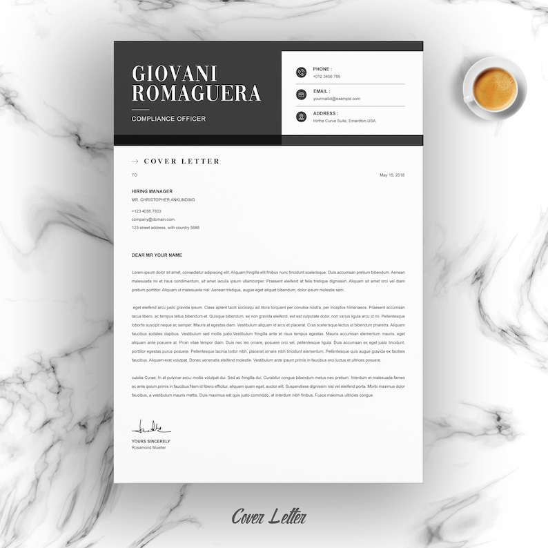 Microsoft Word Minimal and Black White Clean ResumeCV Design Template Apple Pages