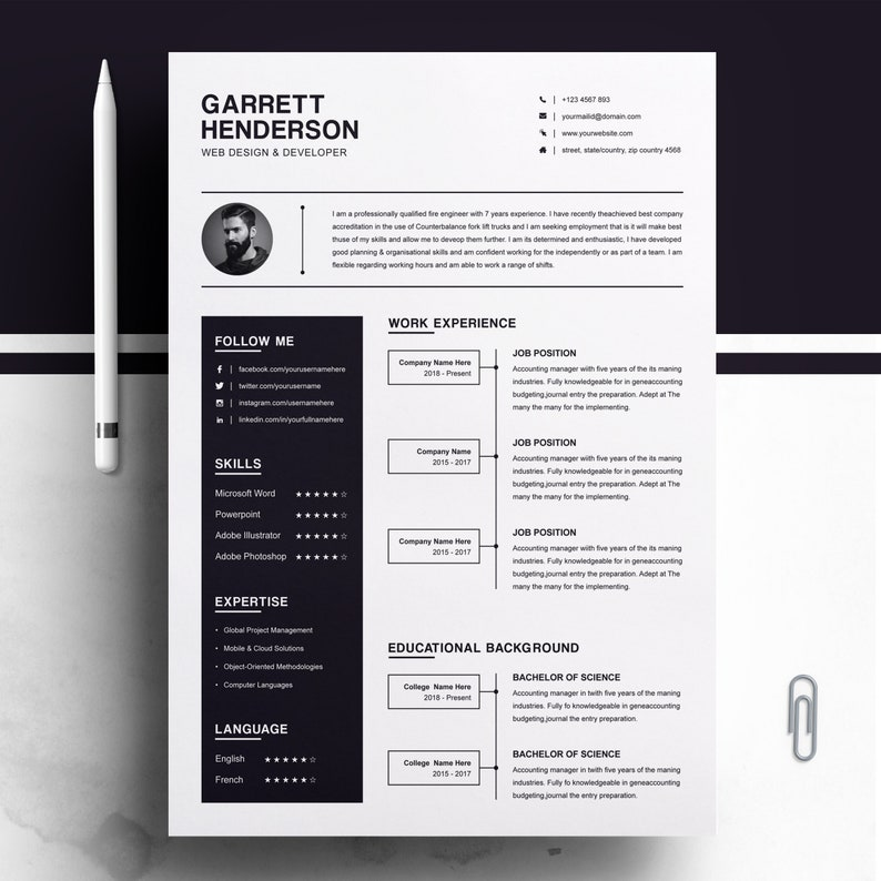One Page Resume Two Page Cv Design Template Cover Letter Etsy