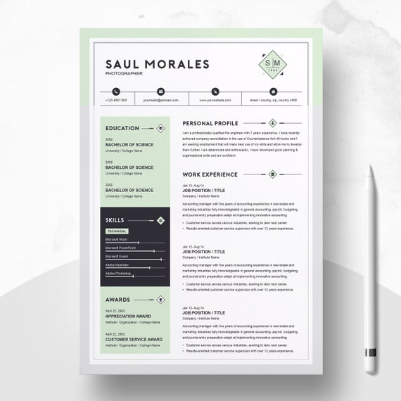 Modern Resume Design Template 3 Page Ms Word Cv Template With Cover Letter Creative Professional Apple Pages