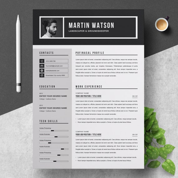 Professional Resume Cv Template With Cover Letter Template Etsy
