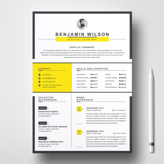 Clean Minimal Resume Template MS Word And Apple Pages Two