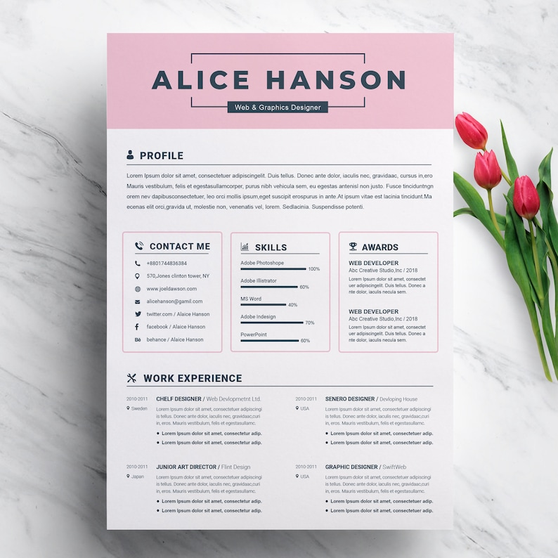 Resume Template, CV Template for MS Word, Creative Resume, Modern Resume  Design, Professional Resume | 2 Pages Resume Design Template