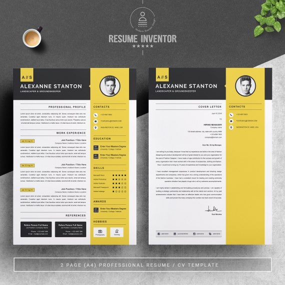 Resume Template Cv Design Template Ms Word Apple Pages Instant Download