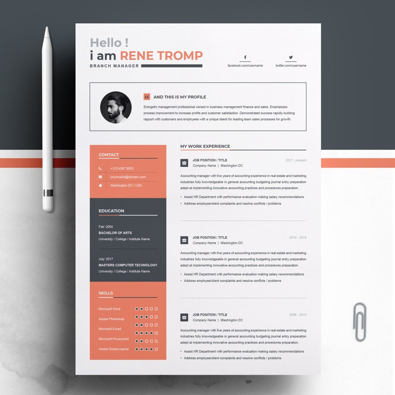 Resume Template 1 Page Professional For Word
