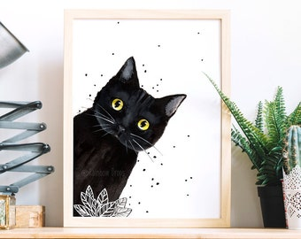 Black Cat I Will Wait For You Satin Portrait Poster