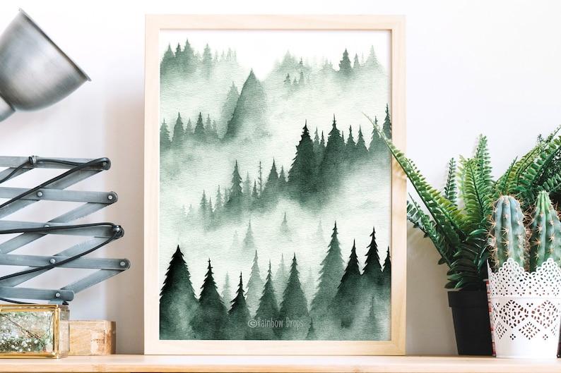 Watercolor landscape,landscape print,landscape poster,fir forest,pines,wall decor,mountain landscape.Art print from my original watercolor.
