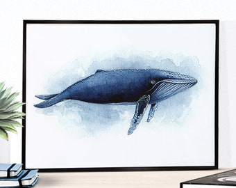 Humpback whale poster. Whale print. Whale watercolor. Whale painting. Whale portrait. Whale drawing. Art print from my original watercolor