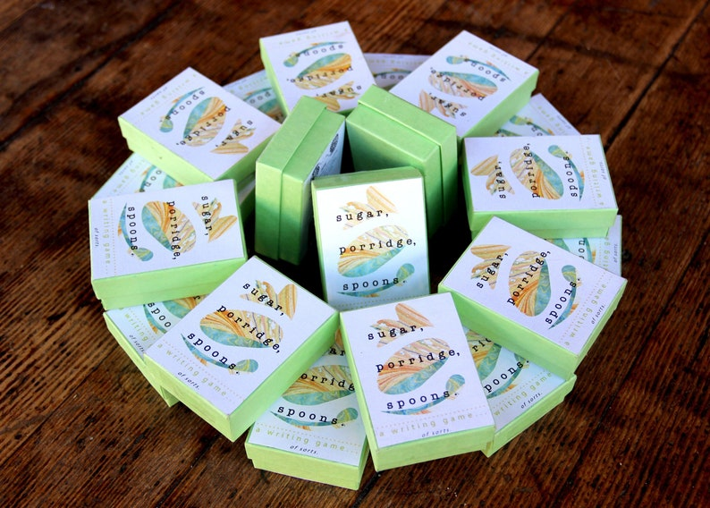 Sugar Porridge Spoons: a writing game! gift for a writer, indie card game,  inspiration for Nanowrimo, party game, overcome writer's block,