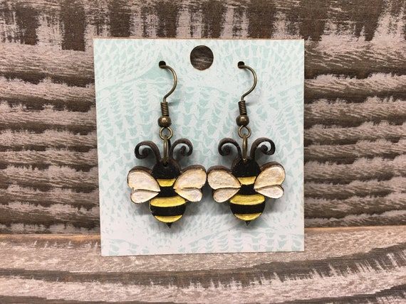 Bee Earrings  Wooden Earrings  Save the Bees  Honey Bee Jewelry  Dangle and Drop  Wooden Bee Jewelry