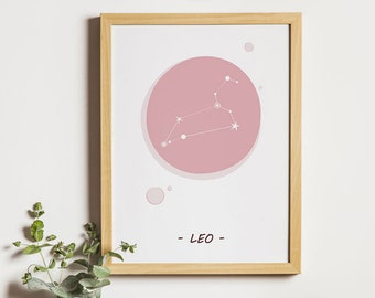 Leo constellation, astrology sign, kids nursery decor, digital print