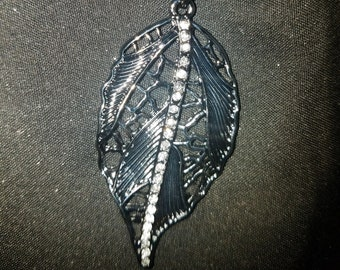 Steel Gray Leaf Necklace