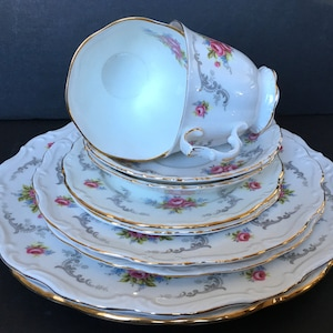 vintage dinnerware Bone China Made in England pink roses Vintage Royal Albert Tranquility Salad Plates gray swags china replacement