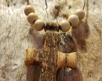 spalted oak cross necklace